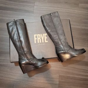 Frye Emma Wedge Knee High Black Leather Boots